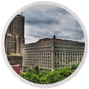 Hsbc Tower    Ellicott Square Buliding Round Beach Towel