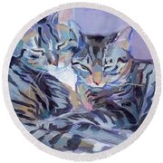 Hugs Purrs And Stripes Round Beach Towel by Kimberly Santini