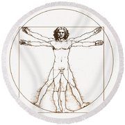 Human Body By Da Vinci Round Beach Towel