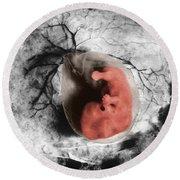 Human Embryo Round Beach Towel
