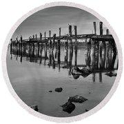 Humboldt Bay Ruins Round Beach Towel