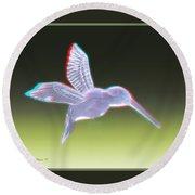 Hummingbird - Use Red-cyan 3d Glasses Round Beach Towel