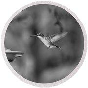 Hummingbird  Black And White Round Beach Towel