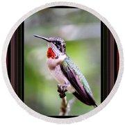 Hummingbird Card Round Beach Towel