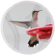 Hummingbird With Wings Back Round Beach Towel