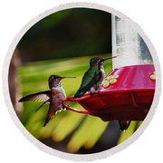 Hummingbirds At The Feeder Round Beach Towel