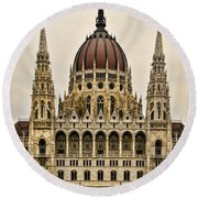 Hungarian Parliment Building Round Beach Towel