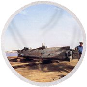 Hunley Submarine, 1863 Round Beach Towel