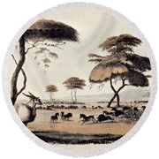Hunting At Meritsane, Round Beach Towel