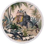 Hunting: Big Game, 1852 Round Beach Towel