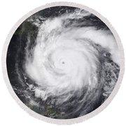 Hurricane Dean In The Atlantic Round Beach Towel
