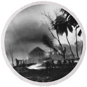 Hurricane In The Caribbean Round Beach Towel