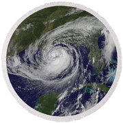 Hurricane Isaac In The Gulf Of Mexico Round Beach Towel