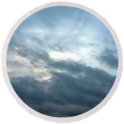 Hurricane Isaac Storm Clouds Round Beach Towel