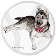 Husky With Blue Eyes And Red Collar Round Beach Towel