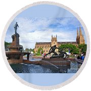Hyde Park Fountain And St. Mary's Cathedral Round Beach Towel