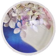 Hydrangeas In Deep Blue Vase Round Beach Towel