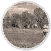 Hygiene Colorado Boulder County Scenic View Sepia Round Beach Towel
