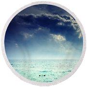 I Am Alone Round Beach Towel by Stelios Kleanthous