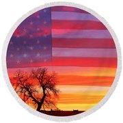 I Am Thankful To Be An American Round Beach Towel