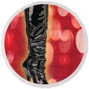 I Love The Night Life Patent Boots Round Beach Towel
