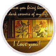 I Love You Night Graffiti Greeting Card Round Beach Towel