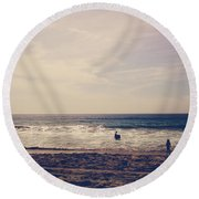 I Want To Swim In The Ocean With You Round Beach Towel by Laurie Search