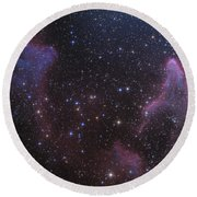Ic 59 And Ic 63 Near Gamma Cas Round Beach Towel