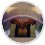 Icarus In The Louis Armstrong International Airport In New Orleans Round Beach Towel by John Malone