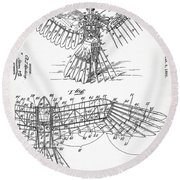 Icarus Patent 1889 Round Beach Towel