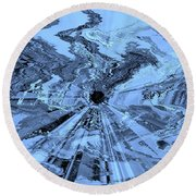 Ice Blue - Abstract Art Round Beach Towel
