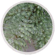 Ice-coated Norway Spruce Round Beach Towel