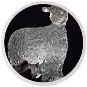 Ice Cold Lamb Carved In Ice Round Beach Towel