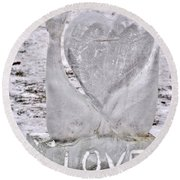 Ice Cold Love Round Beach Towel