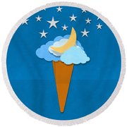 Ice Cream Design On Hand Made Paper Round Beach Towel by Setsiri Silapasuwanchai