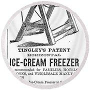 Ice Cream Freezer, 1872 Round Beach Towel