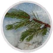 Ice Crystals And Pine Needles Round Beach Towel