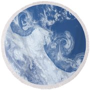 Ice Floes Along The Coastline Round Beach Towel