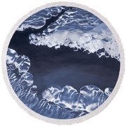 Ice Formations On Small Creek Round Beach Towel