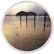 Ice On A Lake In Sunset Round Beach Towel