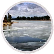 Ice On The Yellowstone River Round Beach Towel