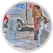 Ice Sculptures Coming About Round Beach Towel