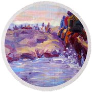 Icelandic Horse Trail Ride Round Beach Towel