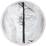 Icing On The Lake Round Beach Towel