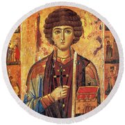 Icon Of Saint Pantaleon Round Beach Towel by Science Source