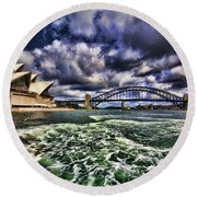Iconic Landmarks Round Beach Towel