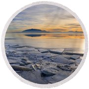 Icy Sunset On Utah Lake Round Beach Towel
