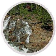 Icy Water Falls Glen Alpine Falls Round Beach Towel