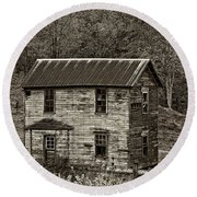 If These Walls Could Talk Sepia Round Beach Towel