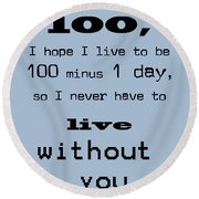 If You Live To Be 100 - Blue Round Beach Towel
